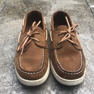 EUC Boys Sperry leather boat shoes brown size 4